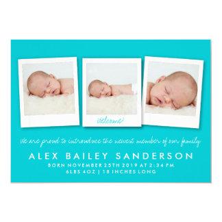 Foto för meddelande för födelse för 12,7 x 17,8 cm inbjudningskort