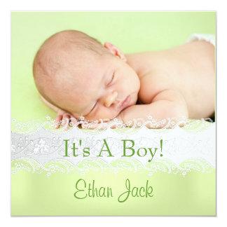 Foto för meddelande för Mintnyfödd bebispojke Fyrkantigt 13,3 Cm Inbjudningskort