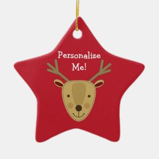 Foto för Personalizable ren w/Custom Stjärnformad Julgransprydnad I Keramik