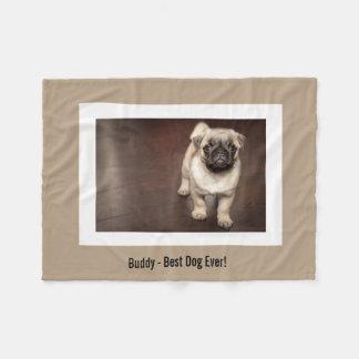 Foto för personligmopshund och ditt mopshundnamn fleecefilt