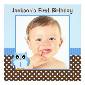 Foto för pojke för födelsedag för polka dots för fyrkantigt 13,3 cm inbjudningskort