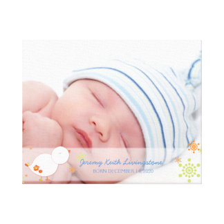 Foto för pojke för vinterfågelnyfödd bebis canvastryck