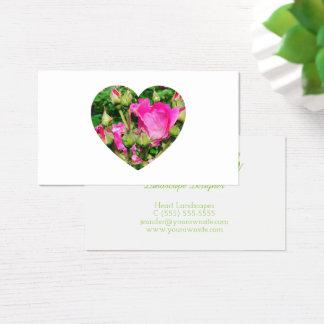 Foto för Shape för rosa rosblommarhjärta Visitkort