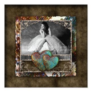 Foto för Suede för vintage för Quinceanera Fyrkantigt 13,3 Cm Inbjudningskort
