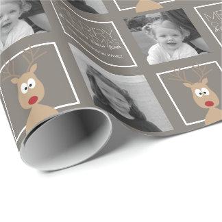 Foto med tecknadrenen med god jul presentpapper