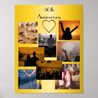 FotoCollage för den 50th årsdagen Poster