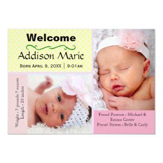 FotoCollage för pastell 2 - födelsemeddelande 12,7 X 17,8 Cm Inbjudningskort