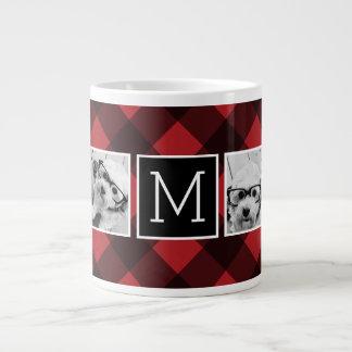 FotoCollage - röd svart buffelpläd för Monogram Jumbo Mugg