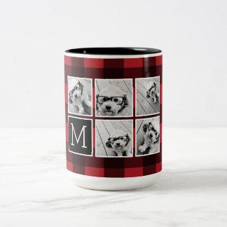 FotoCollage - röd svart buffelpläd för Monogram Två-Tonad Mugg