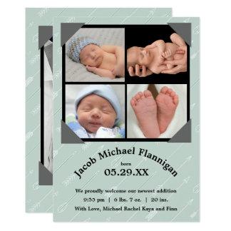 FotoCollagepilar - födelsemeddelande 12,7 X 17,8 Cm Inbjudningskort