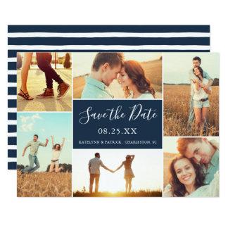 FotoCollagespara dateralägenhetkortet marinblå | 12,7 X 17,8 Cm Inbjudningskort