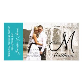 Fotoet för blåttbrölloptack Cards mallen Foto Kort