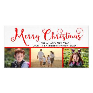 Fotoet för god jul tre skrivar - fotokortet fotokort