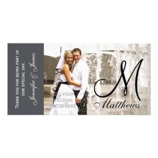 Fotoet för grå färgbrölloptack Cards mallen Fotokort