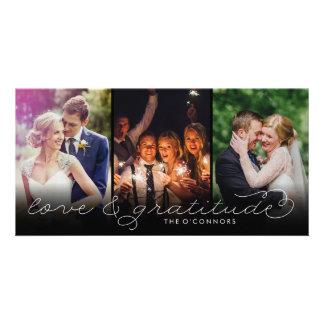 Fotoet för kärlek- & tacksamhetbrölloptack Cards Fotokort