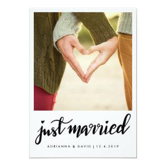 Fotoet för ny gifta som   gifta sig handskriven  , 12,7 x 17,8 cm inbjudningskort