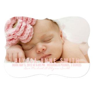 Fotofödelsemeddelande namngiven | 12,7 x 17,8 cm inbjudningskort