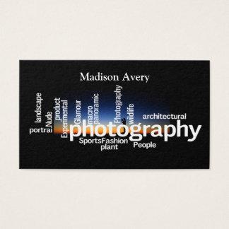 Fotograf för fotografitypografisoluppgång visitkort