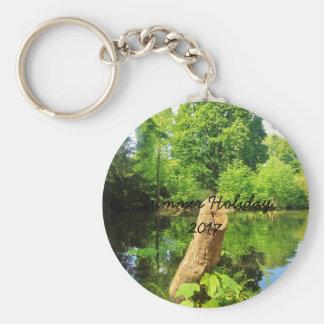 Fotografi för trädstamnatur sjön parkerar rund nyckelring