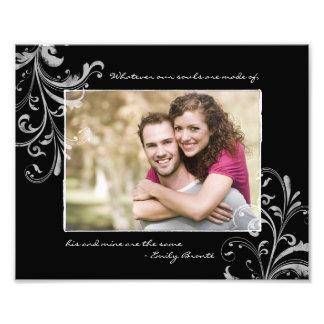 Fotografiskt tryck för svart mall för vit blom-