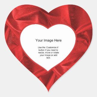 Fotomall - rött Lame metalliskt tyg Hjärtformat Klistermärke