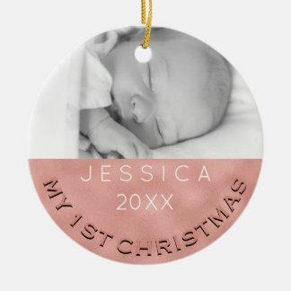 Fotoprydnadflicka rosa guld för 1st jul julgransprydnad keramik