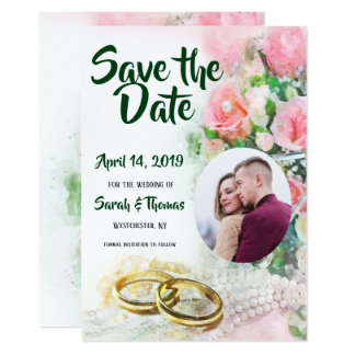 Fotospara daterarosa ros och bröllopmusikbanden 12,7 x 17,8 cm inbjudningskort