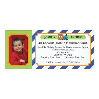 Fototågbiljett - blåttrandar 10,2 x 23,5 cm inbjudningskort