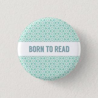 Fött att läsa knäppas, på aqua mini knapp rund 3.2 cm