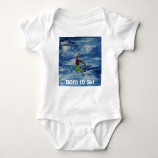 Fött att skida bebisvesten tee shirt