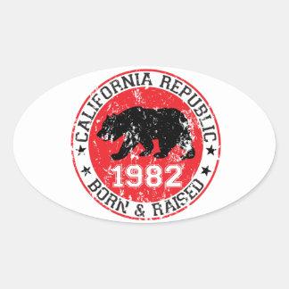 fött för Kalifornien republik som lyfts 1982 Ovalt Klistermärke