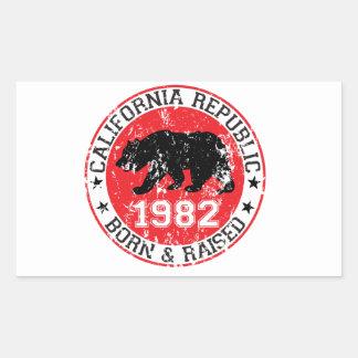 fött för Kalifornien republik som lyfts 1982 Rektangulärt Klistermärke