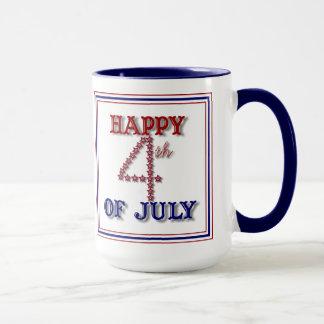 Fourth av den patriotiska muggen för Juli stjärnor Mugg