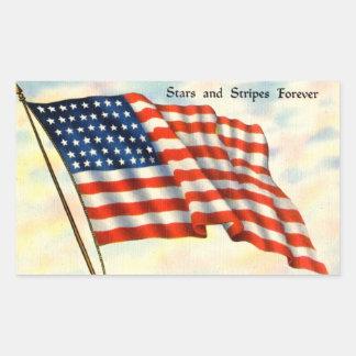 Fourth av Juli amerikanska flagganklistermärkear Rektangulärt Klistermärke
