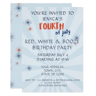 Fourth av Juli röd vit & spritfödelsedaginbjudan 12,7 X 17,8 Cm Inbjudningskort