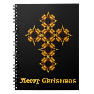 Fractal för god julguldkor anteckningsbok med spiral