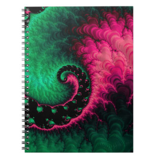 Fractal för rosagröntsvart anteckningsbok