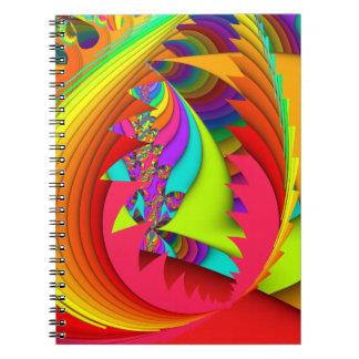 Fractalen färgar mig som är ljus anteckningsbok med spiral