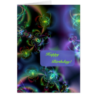 Fractalfjärilsgrattis på födelsedagen hälsningskort