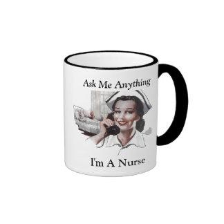 Fråga mig något I-förmiddagen en sjuksköterska den Ringer Mugg