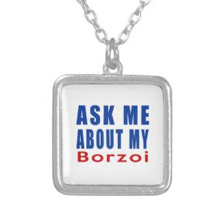 Fråga mig om min Borzoi Halsband Med Fyrkantigt Hängsmycke