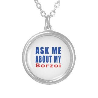Fråga mig om min Borzoi Halsband Med Rund Hängsmycke