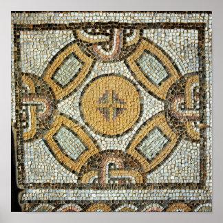 Fragment från golv av de romerska baden poster