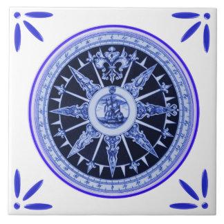 Frakt- och kompassflottaVintage-Delft-Blått-Look Kakelplatta
