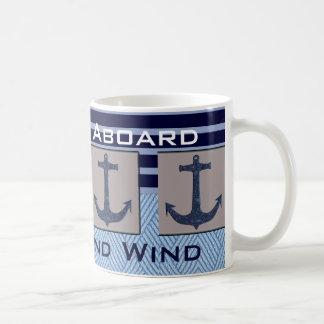 Frakten ankrar & nautiska randar ditt fartygnamn vit mugg