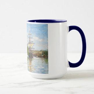 Frakter som seglar på Seinen på Rouen Claude Monet Mugg