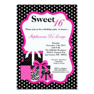 framlägger den rosa sebran 5x7 födelsedagsfest 12,7 x 17,8 cm inbjudningskort