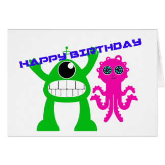 Främmande födelsedagkort för tecknad kort