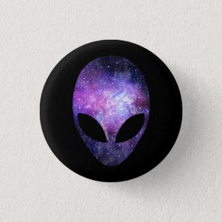 Främmande huvud med begreppsmässiga universumlilor mini knapp rund 3.2 cm