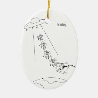 Främmande kidnappning av jultomtenjulprydnaden ovalformad julgransprydnad i keramik